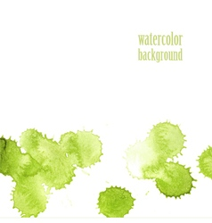 Watercolor background for layout green drops vector