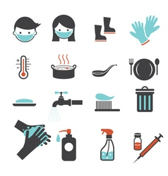 Health and sanitation icons set vector