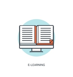 Flat lined e-learning background with computer and vector