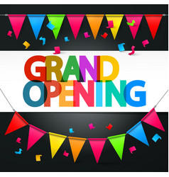 Grand opening retro colorful title with colorful vector