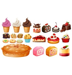Set of different kinds of desserts vector