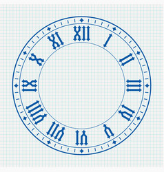 Ancient clock face with roman numerals on lined vector