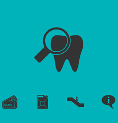 Bacteria on tooth icon flat vector