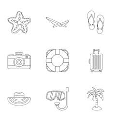 Beach vacation icons set outline style vector