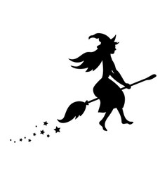 Black silhouette of a witch flying on a broomstick vector