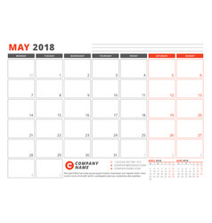 Calendar template for 2018 year may business vector