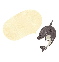 Cartoon shark with speech bubble vector