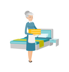 Caucasian housekeeping maid with stack of linen vector
