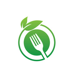 Circle leaf fork eco logo image vector