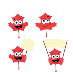 cute maple leaf in different poses vector image vector image