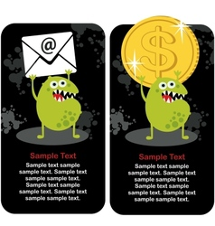 Cute monster with dollar coin and e-mail vector