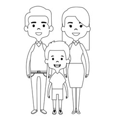 cute mother and father with son vector image