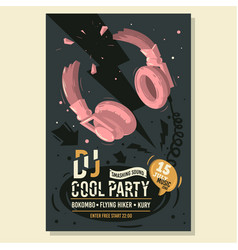 Dj party poster flyer design with broken vector
