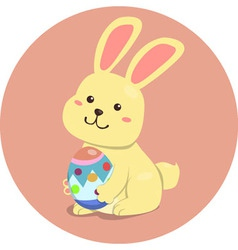 Easter Rabbit Cute Cartoon Holding Egg vector image vector image
