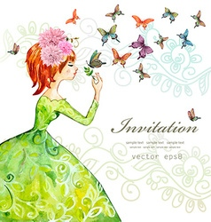Fashion girl with butterflies watercolor painting vector