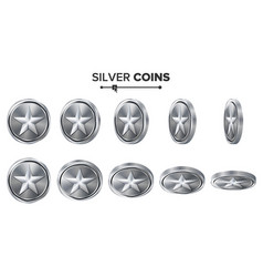 Game 3d silver coin with star flip vector