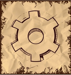 Gear icon isolated on vintage background vector image vector image