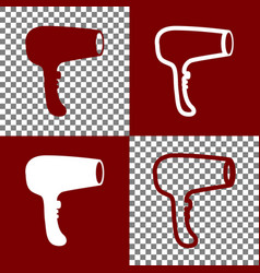 hair dryer sign bordo and white icons and vector image
