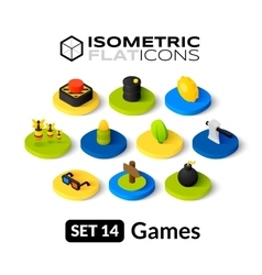 Isometric flat icons set 14 vector image