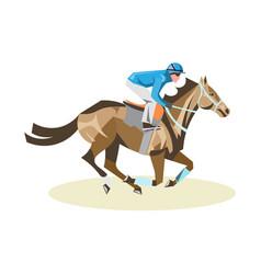 jockey on white horse vector image vector image