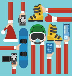 new year holiday with snowboard set design flat vector image vector image