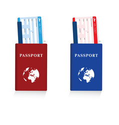 passport in red and blue color with air ticket set vector image