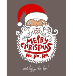 santa claus head merry christmas happy new year vector image