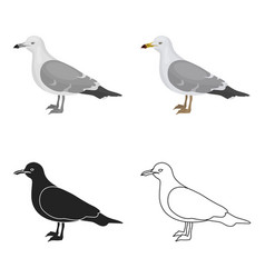 Seagull icon in cartoon style isolated on white vector