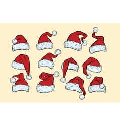 set hats Santa Claus Christmas collection vector image