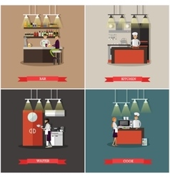 Set of banners with restaurant interiors vector