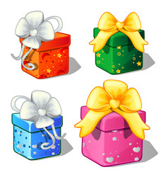 set of gift boxes green blue red and pink color vector image vector image