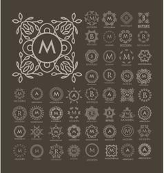 Set of luxury simple and elegant blue monogram vector