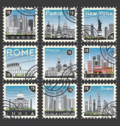 set of stamps with different city and landmarks vector image
