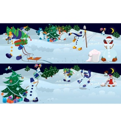 Snowmen living in magic forest vector image