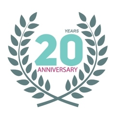 Template Logo 20 Anniversary in Laurel Wreath vector image vector image