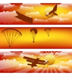 Three horizontal stripes with sunset sky vector