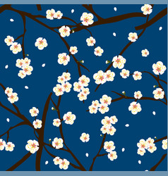 white plum blossom flower on indigo blue vector image vector image