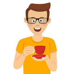 young man with glasses holding cup of tea vector image vector image