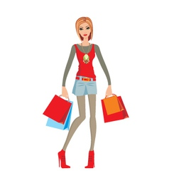 young woman makes shopping vector image