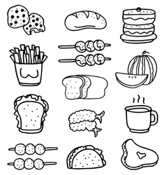 Doodle of food set hand draw vector
