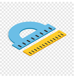 protractor and ruler isometric icon vector image