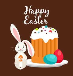 Rabbit and easter cake greeting card vector