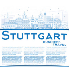 Outline stuttgart skyline with blue buildings and vector
