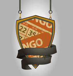 Wooden shield sign with bingo cards and rope vector