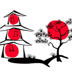 Japanese pagoda and pine on a background of the su vector