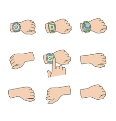 Hands with smartwatch icons vector