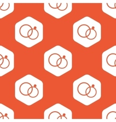 Orange hexagon wedding rings pattern vector