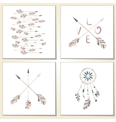 Native indian-american arrows and dream catcher vector