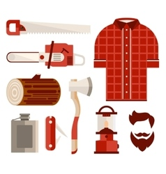 Wood and tools of lumberjack in flat style vector