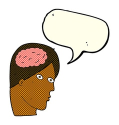 Cartoon head with brain symbol with speech bubble vector